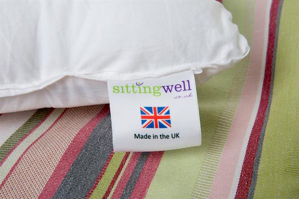 image showing the sittingwell lumbar support cushion labelling