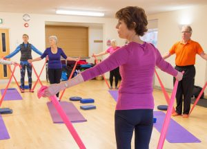 Pilates instructor holds resistance bands whilst demonstrating to het class doing the same thing. Demonstrating effective cueing